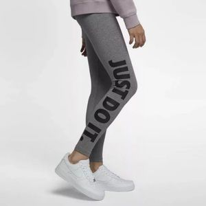 NIKE Gray Leg-A-See Just Do It Leggings Size Small